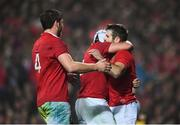 20 June 2017; Jared Payne is congratulated by his British and Irish Lions team-mates Rory Best, centre, and Iain Henderson, left, after scoring his side's fourth try during the match between the Chiefs and the British & Irish Lions at FMG Stadium in Hamilton, New Zealand. Photo by Stephen McCarthy/Sportsfile
