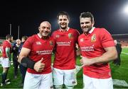 20 June 2017; Ulster players representing the British and Irish Lions, from left, Rory Best, Iain Henderson and Jared Payne following the match between the Chiefs and the British & Irish Lions at FMG Stadium in Hamilton, New Zealand. Photo by Stephen McCarthy/Sportsfile