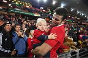 20 June 2017; Jared Payne of the British & Irish Lions with his 11-month-old son Jake following the match between the Chiefs and the British & Irish Lions at FMG Stadium in Hamilton, New Zealand. Photo by Stephen McCarthy/Sportsfile