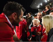 20 June 2017; Jared Payne of the British & Irish Lions with his fiance Christina Beattie and 11-month-old son Jake following the match between the Chiefs and the British & Irish Lions at FMG Stadium in Hamilton, New Zealand. Photo by Stephen McCarthy/Sportsfile