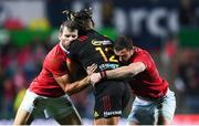 20 June 2017; Johnny Faauli of the Chiefs is tackled by Jared Payne, left, and Robbie Henshaw of the British and Irish Lions during the match between the Chiefs and the British & Irish Lions at FMG Stadium in Hamilton, New Zealand. Photo by Stephen McCarthy/Sportsfile