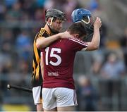 21 June 2017; Disappointed Ciaran Doyle of Westmeath is consoled by Jason Cleere of Kilkenny during the Bord Gáis Energy Leinster GAA Hurling U21 Championship Semi-Final match between Westmeath and Kilkenny at Cusack Park, in Mullingar. Photo by David Maher/Sportsfile