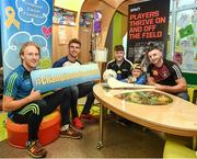 22 June 2017; Young Zach King, second right, age 6, from Ballincollig, Co. Cork is joined by, from left, Wexford hurler Diarmuid O'Keeffe, Laois footballer Colm Begley, former Carlow hurler Hugh Paddy O'Byrne, and Westmeath hurler Derek McNicholas, during the GPA and Childhood Cancer Foundation #Championsofcourage launch at Our Lady's Children's Hospital, in Crumlin, Dublin. Photo by Seb Daly/Sportsfile