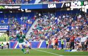 10 June 2017; Rory Scannell of Ireland kicks a conversion during the international match between Ireland and USA at the Red Bull Arena in Harrison, New Jersey, USA. Photo by Ramsey Cardy/Sportsfile
