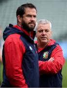 23 June 2017; British & Irish Lions head coach Warren Gatland, right, and defence coach Andy Farrell during their captain's run at QBE Stadium in Auckland, New Zealand. Photo by Stephen McCarthy/Sportsfile