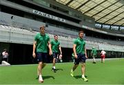 23 June 2017; Ireland players, from left, Garry Ringrose, Jacob Stockdale, and Paddy Jackson walk out for their team photpgraph before their captain's run at the Ajinomoto Stadium in Tokyo, Japan. Photo by Brendan Moran/Sportsfile