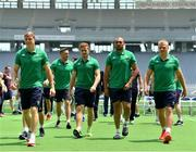 23 June 2017; Irish players, from left, Garry Ringrose, Paddy Jackson, Simon Zebo and Luke Marshall after having their squad photograph taken before their captain's run at the Ajinomoto Stadium in Tokyo, Japan. Photo by Brendan Moran/Sportsfile