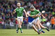22 June 2017; Barry Murphy of Limerick is tackled by Brian McGrath of Tipperary during the Bord Gais Energy Munster GAA Under 21 Hurling Quarter-Final match between Limerick and Tipperary at the Gaelic Grounds in Limerick. Photo by Ramsey Cardy/Sportsfile
