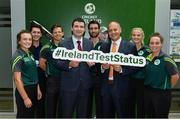 23 June 2017; Ireland players, from left, Lara Maritz, Sean Terry, Ed Joyce, Andrew Balbirnie, Gaby Lewis and Laura Delany with Brendan Griffin T.D, Minister of State at the Department of Transport, Tourism and Sport and Warren Deutrom, CEO, Cricket Ireland, following a press conference at the Irish Aviation Authority Offices in Dublin. Photo by Ramsey Cardy/Sportsfile