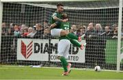 23 June 2017; Karl Sheppard, right, of Cork City celebrates after scoring his side's first goal with team-mate Sean Maguire during the SSE Airtricity League Premier Division match between Derry City and Cork City at Maginn Park in Buncrana, Co Donegal. Photo by David Maher/Sportsfile