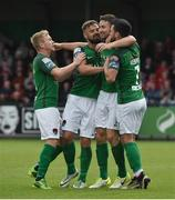23 June 2017; Gearoid Morrissey, second from right, of Cork City celebrates after scoring his side's second goal with team-mates, from left, Conor McCormack, Greg Bolger and Jimmy Keohane during the SSE Airtricity League Premier Division match between Derry City and Cork City at Maginn Park in Buncrana, Co Donegal. Photo by David Maher/Sportsfile