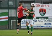 23 June 2017; Jimmy Keohane of Cork City in action against Ronan Curtis of Derry City during the SSE Airtricity League Premier Division match between Derry City and Cork City at Maginn Park in Buncrana, Co Donegal. Photo by David Maher/Sportsfile