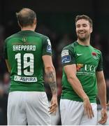 23 June 2017; Gearoid Morrissey, right, of Cork City celebrates after scoring his side's second goal with team-mate Karl Sheppard during the SSE Airtricity League Premier Division match between Derry City and Cork City at Maginn Park in Buncrana, Co Donegal. Photo by David Maher/Sportsfile
