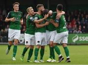 23 June 2017; Gearoid Morrissey, second from right, of Cork City celebrates after scoring his side's second goal with team-mates, from left, Ryan Delaney, Conor McCormack Greg Bolger and Jimmy Keohane during the SSE Airtricity League Premier Division match between Derry City and Cork City at Maginn Park in Buncrana, Co Donegal. Photo by David Maher/Sportsfile