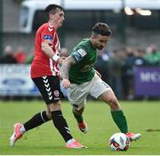 23 June 2017; Sean Maguire of Cork City in action against Aaron McEneff  of Derry City during the SSE Airtricity League Premier Division match between Derry City and Cork City at Maginn Park in Buncrana, Co Donegal. Photo by David Maher/Sportsfile