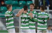23 June 2017; James Doona of Shamrock Rovers, second from left, celebrates scoring his side's third goal with team-mates, from left, Simon Madden, Ronan Finn and Luke Byrne during the SSE Airtricity League Premier Division match between Shamrock Rovers and Drogheda United at Tallaght Stadium in Tallaght, Co Dublin. Photo by Piaras Ó Mídheach/Sportsfile