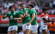 24 June 2017; Garry Ringrose of Ireland, right, is congratulated by team-mates Luke Marshall, left, and Jacob Stockdale after scoring their side's first try during the international rugby match between Japan and Ireland in the Ajinomoto Stadium in Tokyo, Japan. Photo by Brendan Moran/Sportsfile