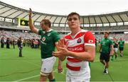 24 June 2017; Kieran Treadwell, left, and Garry Ringrose of Ireland leave the pitch after the international rugby match between Japan and Ireland in the Ajinomoto Stadium in Tokyo, Japan. Photo by Brendan Moran/Sportsfile