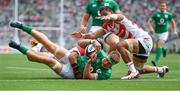 24 June 2017; Josh van der Flier of Ireland scores his side's second try during the international rugby match between Japan and Ireland in the Ajinomoto Stadium in Tokyo, Japan. Photo by Brendan Moran/Sportsfile