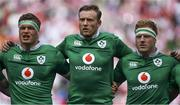 24 June 2017; Ireland players, from left, Josh van der Flier, Kieran Treadwell and James Tracy during the national anthem before the international rugby match between Japan and Ireland in the Ajinomoto Stadium in Tokyo, Japan. Photo by Brendan Moran/Sportsfile