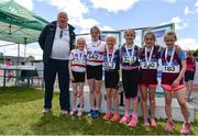 24 June 2017; Juvenile Athletics Chairman John McGrath, with Girls U10 60m medallists, from left, Ava Flavin and Lucy Nugent of Finisk Valley A.C., Co Waterford, silver, Aoibhin Donoghue and Eimear McBride of Lusk A.C., Co Dublin, gold with Norah Garry and Katie Kilmurray of Mullingar Harriers A.C., Co Westmeath, bronze, at the Irish Life Health Juvenile Games & Inter Club Relays at Tullamore Harriers Stadium in Tullamore, Co Offaly. Photo by Sam Barnes/Sportsfile