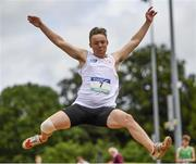 24 June 2017; Ryan Nixon-Stewart of High School, Ballynahinch, Co. Down, competing in the long jump at the Irish Life Health Tailteann School's Interprovincial Schools Championships at Morton Stadium in Santry, Dublin. Photo by Ramsey Cardy/Sportsfile