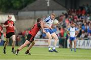 24 June 2017; Kieran Hughes of Monaghan in action against Peter Turley of Down during the Ulster GAA Football Senior Championship Semi-Final match between Down and Monaghan at the Athletic Grounds in Armagh. Photo by Daire Brennan/Sportsfile