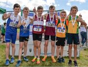 24 June 2017; Boys U11 600m medallists, from left, Fionn Heffernan and James Kelly of Ratoath A.C., Co Meath, silver, Conor Liston and Criostoir Ormsby  of Mullingar Harriers A.C., Co Westmeath, gold, with Emmet Reilly and Fionn McNamara of Annalee A.C., Co Cavan, bronze  at the Irish Life Health Juvenile Games & Inter Club Relays at Tullamore Harriers Stadium in Tullamore, Co Offaly. Photo by Sam Barnes/Sportsfile