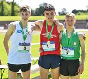 24 June 2017; On the podium after the 3,000 metre race are, from left, third placed Jack O'Farrell, St Colmans, Newry, Co. Down, winner Keelan Kilrehill, Colaiste Iascaigh, Easkey, Co. Sligo, and second placed Jack Moran, Colaiste Muire, Ennis, Co. Clare, at the Irish Life Health Tailteann School's Interprovincial Schools Championships at Morton Stadium in Santry, Dublin. Photo by Ramsey Cardy/Sportsfile