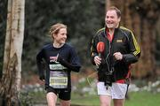 17 February 2012; European Cross Country Champion Fionnuala Britton is interviewed by Newstalk's Henry McKean after taking part in the SPAR Great Ireland Run flash lap lunchtime run around Merrion Square. The SPAR Great Ireland Run is on Sunday 15th April in the Phoenix Park, Dublin. Entries and info at www.greatirelandrun.org. Merrion Square, Dublin. Picture credit: Brian Lawless / SPORTSFILE