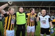 18 February 2012; Crossmaglen Rangers joint manager Tony McEntee, 2nd from left, celebrates with Johnny Hanratty, David McKenna and Paul Hearty after the game. AIB GAA Football All-Ireland Senior Club Championship Semi-Final, Dr. Crokes, Kerry, v Crossmaglen Rangers, Armagh, O'Moore Park, Portlaoise, Co. Laois. Picture credit: Brendan Moran / SPORTSFILE