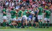 24 June 2017; The Ireland team take a water break during the international rugby match between Japan and Ireland in the Ajinomoto Stadium in Tokyo, Japan. Photo by Brendan Moran/Sportsfile