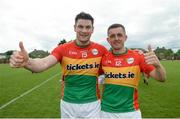 25 June 2017; John Murphy and Alan Kelly of Carlow celebrate following their side's victory during the GAA Football All-Ireland Senior Championship Round 1B match between London and Carlow at McGovern Park in Ruislip, London. Photo by Seb Daly/Sportsfile
