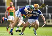 25 June 2017; Sean Downey, left, and Cahir Healy of Laois in action during the GAA Hurling All-Ireland Senior Championship Preliminary Round match between Laois and Carlow at O'Moore Park in Portlaoise, Co. Laois. Photo by Ramsey Cardy/Sportsfile