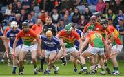 25 June 2017; Players from both teams battle for possession during the GAA Hurling All-Ireland Senior Championship Preliminary Round match between Laois and Carlow at O'Moore Park in Portlaoise, Co. Laois. Photo by Ramsey Cardy/Sportsfile