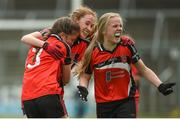 25 June 2017; Maria Lovett, Cara Thomson and Grainne Cahill of Killygarry, Co. Cavan celebrate after the Girls Division 1 Shield Final at the John West Peile na nÓg national competition which took place this weekend across Cavan, Fermanagh and Monaghan. This is the second year that the Féile na nGael and Féile Peile na nÓg have been sponsored by John West, one of the world's leading suppliers of fish. The competition gives up-and-coming GAA superstars the chance to participate and play in their respective Féile tournament, at a level which suits their age, skills and strengths.   Photo by Matt Browne/Sportsfile