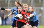 25 June 2017; Deirdhile Lynch of Killygarry, Co. Cavan in action against Westport, Co. Mayo during the Girls Division 1 Shield Final at the John West Peile na nÓg national competition which took place this weekend across Cavan, Fermanagh and Monaghan. This is the second year that the Féile na nGael and Féile Peile na nÓg have been sponsored by John West, one of the world's leading suppliers of fish. The competition gives up-and-coming GAA superstars the chance to participate and play in their respective Féile tournament, at a level which suits their age, skills and strengths.   Photo by Matt Browne/Sportsfile