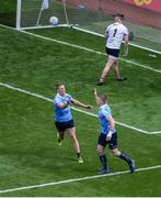 25 June 2017; Paul Mannion, left, celebrates with Eoghan O'Gara, after O'Gara scored his side's second goal during the Leinster GAA Football Senior Championship Semi-Final match between Dublin and Westmeath at Croke Park in Dublin. Photo by Daire Brennan/Sportsfile
