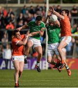 25 June 2017; Charlie Vernon and Aidan Forker of Armagh  in action against Ryan Lyons and Aidan Breen of Fermanagh during the GAA Football All-Ireland Senior Championship Round 1B match between Armagh and  Fermanagh at the Athletic Grounds in Armagh. Photo by Oliver McVeigh/Sportsfile
