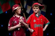 18 February 2012; Patrick Mockler, left, and Owen Naughton, members of the Caltra GAA Club, Co. Galway, performing in the 'Novelty Act' competition in the All-Ireland Scór na nÓg Final 2012. Royal Theatre & Events Centre, Castlebar, Co. Mayo. Picture credit: Ray McManus / SPORTSFILE