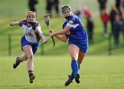 19 February 2012; Katie Power, Waterford Institute of Technology, in action against Ella Ryan, University of Limerick. 2012 Ashbourne Cup Final, University of Limerick v Waterford Institute of Technology, Waterford IT, Waterford. Picture credit: Matt Browne / SPORTSFILE