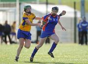 19 February 2012; Niamh Mulcahy, Mary Immaculate Limerick, in action against Roisin Doyle, St. Patrick's College Drumcondra. 2012 Fr. Meachair Cup Final, Mary Immaculate Limerick v St. Patrick's College Drumcondra, Waterford IT, Waterford. Picture credit: Matt Browne / SPORTSFILE
