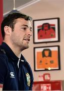26 June 2017; Robbie Henshaw of the British & Irish Lions during a press conference at Jerry Collins Stadium, where a Munster Rugby jersey hangs, presented to the Norths RFC club by Vivian Boland, in Porirua, New Zealand. Photo by Stephen McCarthy/Sportsfile