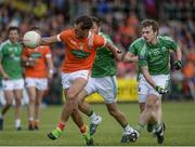 25 June 2017; Stephen Sheridan of Armagh in action against Ryan and Declan McCusker of Fermanagh  during the GAA Football All-Ireland Senior Championship Round 1B match between Armagh and  Fermanagh at the Athletic Grounds in Armagh. Photo by Oliver McVeigh/Sportsfile