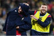 27 June 2017; Robbie Henshaw shares a joke with his British & Irish Lions team-mate Finn Russell as he leaves the pitch during the match between Hurricanes and the British & Irish Lions at Westpac Stadium in Wellington, New Zealand. Photo by Stephen McCarthy/Sportsfile