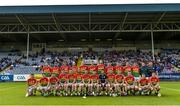 25 June 2017; The Carlow panel ahead of the GAA Hurling All-Ireland Senior Championship Preliminary Round match between Laois and Carlow at O'Moore Park in Portlaoise, Co. Laois. Photo by Ramsey Cardy/Sportsfile