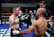 17 June 2017; Paddy Barnes and Silvio Olteanu following their WBO European flyweight title bout at the Battle of Belfast Fight Night at the Waterfront Hall in Belfast. Photo by Ramsey Cardy/Sportsfile