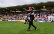 18 June 2017; Tyrone manager Mickey Harte enters the field before the Ulster GAA Football Senior Championship Semi-Final match between Tyrone and Donegal at St Tiernach's Park in Clones, Co. Monaghan. Photo by Oliver McVeigh/Sportsfile