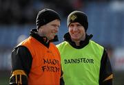 18 February 2012; Gareth O'Neill, left, and Tony McEntee, Crossmaglen Rangers joint managers. AIB GAA Football All-Ireland Senior Club Championship Semi-Final, Dr. Crokes, Kerry, v Crossmaglen Rangers, Armagh, O'Moore Park, Portlaoise, Co. Laois. Picture credit: Oliver McVeigh / SPORTSFILE