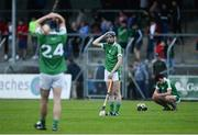 28 June 2017; Limerick players, from left, Ryan Tobin, Damien Burke and Ronan Connolly react at the final whistle after the Electric Ireland Munster GAA Hurling Minor Championship semi-final match between Clare and Limerick at Cusack Park in Ennis, Co. Clare. Photo by Diarmuid Greene/Sportsfile